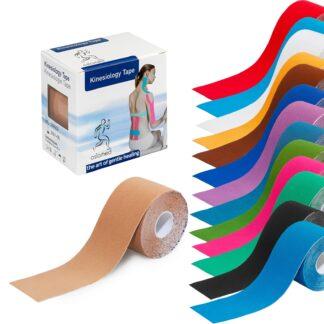 Kinesiologi-tape i 14 forskellige farver. Leveres i pakket med et stk.