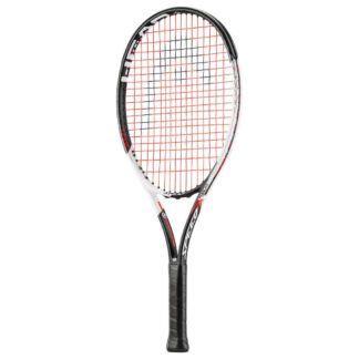 Tennis racquet. Black and white beam and black handle. Black HEAD logo painted on red strings.