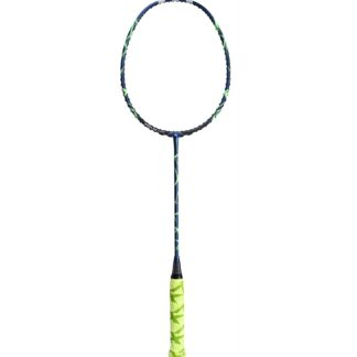 Badminton-ketcher. Metallisk blå og med grønne staferinger.