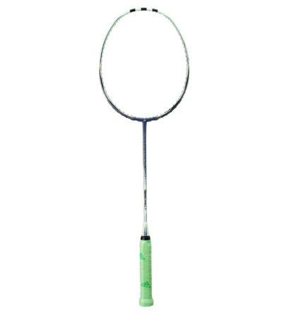Badminton-ketcher. Lysegrøn med grå stafferinger. Grønt håndtag.
