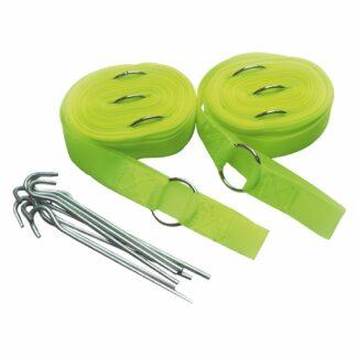 Linjer til etbalering af f.eks. badmintonbane på blødt underlag - f.eks. græs, grus eller sand. Metalringe i hjørnerne til at fastgøre banen ved brug af medfølgende pløkker i metal. Banen er i farven gul (fluorescerende)