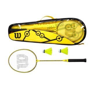 Sæt med 2 badmintonketchere og badmintonbold. Alt i gult og med små minions signaturer i sort.