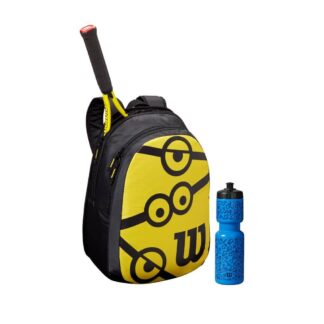 "Kit with yellow 25"" Tennis racquet, black and yellow backpack and blue waterbottle - all with Minion icons"