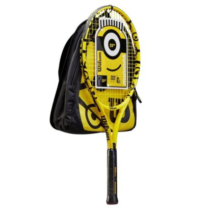 """Kit with yellow 25"""" Tennis racquet, black and yellow backpack and blue waterbottle - all with Minion icons"""