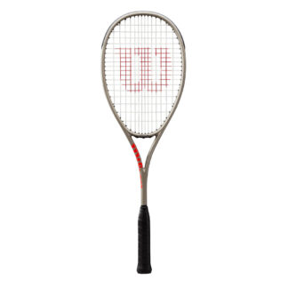 Squash racquet. Strung and with W (Wilson) logo painted on strings. Silver frame and black grip.