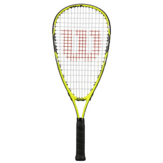 Squash racquet. Strung and with W (Wilson) logo painted on strings. Green frame and black grip.