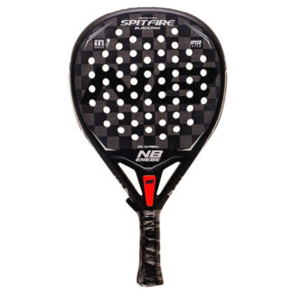 "Padelbat (front view) in black with white ""Enebe"" (brand name) and white ""Spitfire"" (model name)"
