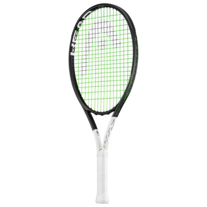 Tennis racquet. Black beam and white handle. Black HEAD logo painted on green strings.