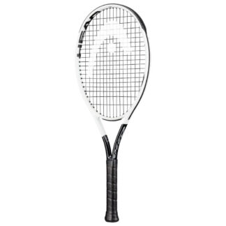 Tennis racquet. White beam, black bumper and handle. White HEAD logo painted on black strings.