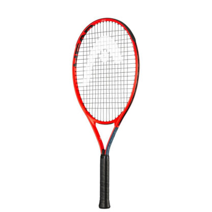 Tennis racquet. Orange-red beam and black handle. White HEAD logo painted on strings.