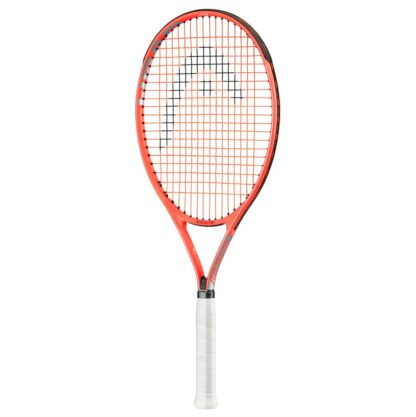 Tennis racquet. Orange-red beam and white handle. Black HEAD logo painted on red/orange strings.