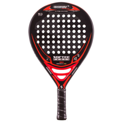 "Padelbat (front view) in black with red stribes plus white ""Softee"" (brand name) and ""Energy"" (model name)"