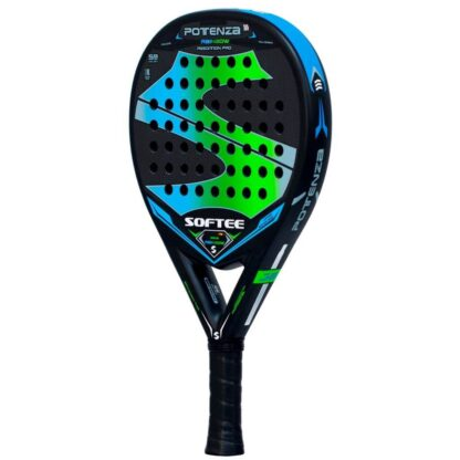 """Padelbat (side view) in black with huge """"S"""" (Softee) in blue and green plus white """"Softee"""" (brand name) and """"Potenza Rainbow"""" (model name)"""
