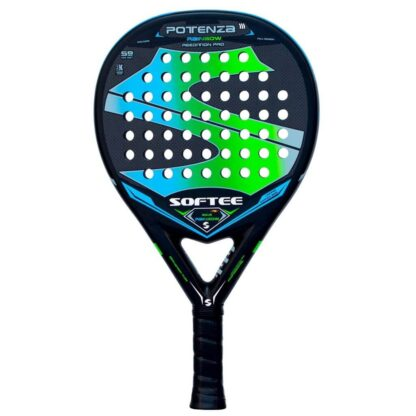 """Padelbat (front view) in black with huge """"S"""" (Softee) in blue and green plus white """"Softee"""" (brand name) and """"Potenza Rainbow"""" (model name)"""