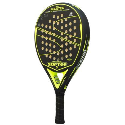 """Padelbat (side view) in black with yellow stribes - including yellow """"Softee"""" (brand name) and """"Pro Master"""" (model name)"""