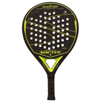 "Padelbat (front view) in black with yellow stribes - including yellow ""Softee"" (brand name) and ""Pro Master"" (model name)"