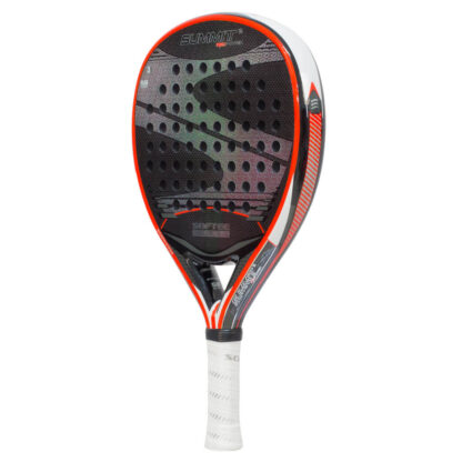 "Padelbat (side view) in black with red rim, and ""Softee"" (brand name) and ""Summit"" (model name)"