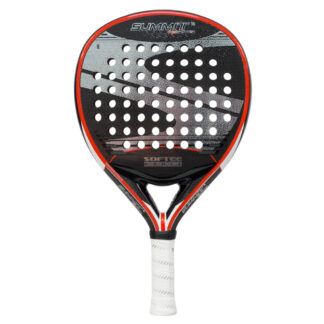 "Padelbat (front view) in black with red rim, and ""Softee"" (brand name) and ""Summit"" (model name)"