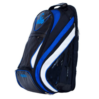 Backpack for Padel. Black with to wide stribe in blue and white