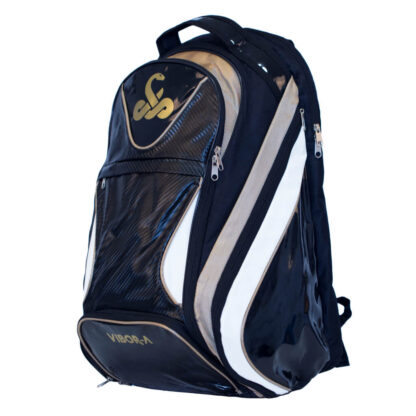 Backpack for Padel. Black with to wide stribe in silver and white