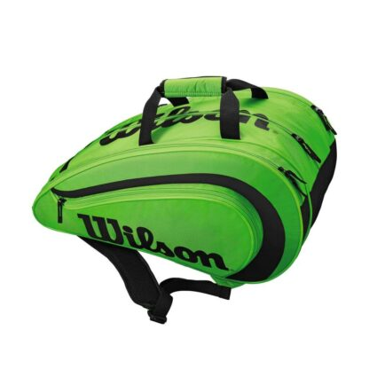 """Bag for padel. Green with black """"Wilson""""."""