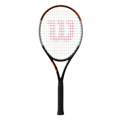 """Tennis racquet. Beam in orange, gray and black. A big red """"W"""" painted on the white strings."""