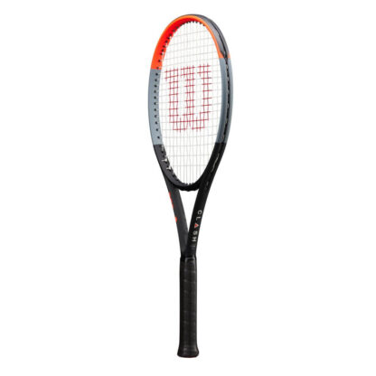 """Side view of tennis racquet. Beam in orange, gray and black. A big red """"W"""" painted on the white strings."""