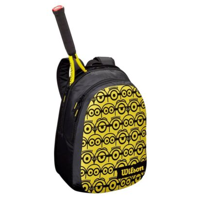 Backback junior - yellow front and bag with black Minions (icons) - shown with junior racket (not included). Back backcovers (can include) head of tennis racquet (not handle and schaft)