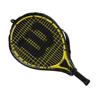 """Junior tennis racquet (17"""") with Minions icons - inside racquet sleve (transparent on one side - so that racquet is visible)"""