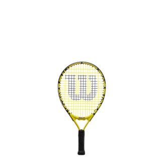 "Junior tennis racquet (17"") with Minions icons."