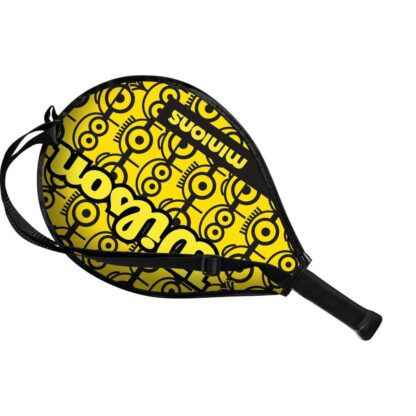 """Junior tennis racquet (17"""") inside racquet sleve - with Minions icons on one side (the side visible)"""