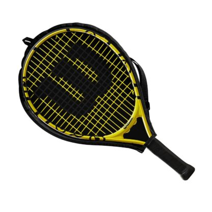 """Junior tennis racquet (19"""") with Minions icons - inside racquet sleve (transparent on one side - so that racquet is visible)"""