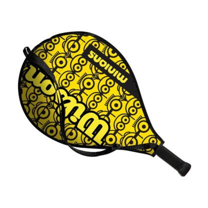 """Junior tennis racquet (19"""") inside racquet sleve - with Minions icons on one side (the side visible)"""