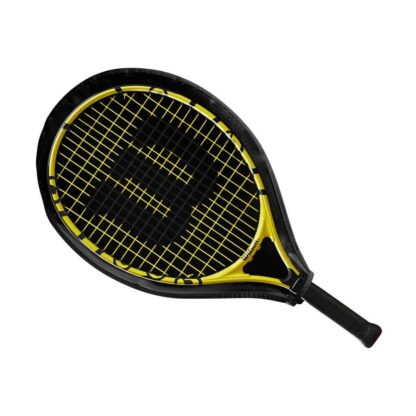 """Junior tennis racquet (21"""") with Minions icons - inside racquet sleve (transparent on one side - so that racquet is visible)"""