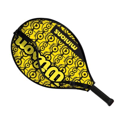 """Junior tennis racquet (21"""") inside racquet sleve - with Minions icons on one side (the side visible)"""
