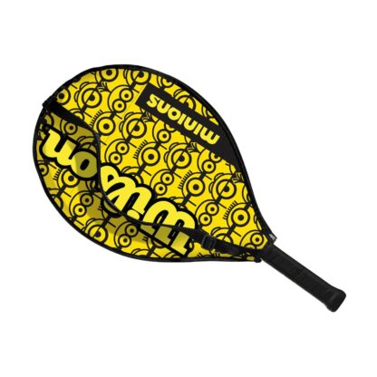 """Junior tennis racquet (23"""") inside racquet sleve - with Minions icons on one side (the side visible)"""