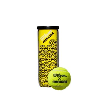 "Can with Minions icons and one tennis ball with ""Wilson x Minions"""