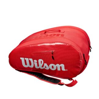 "Bag for padel. Red with white ""Wilson""."