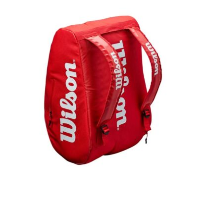 """Bag for padel. Red with white """"Wilson""""."""