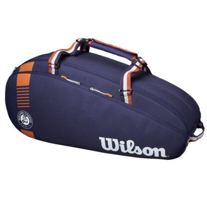 Tennisbag in Nayblue with leatherbrown and white colered logos etc.