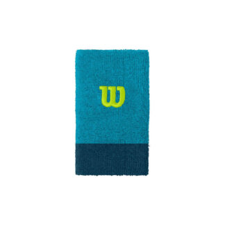 "Wide wristband, 2 colors (light and dark blue) and ""W"" for Wilson"